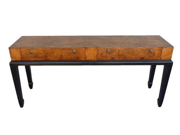 Heckman Burl wood Asian vintage console sofa entry table 1