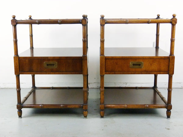 Vintage Henredon Faux-Bamboo Campaign Side Tables Img 2