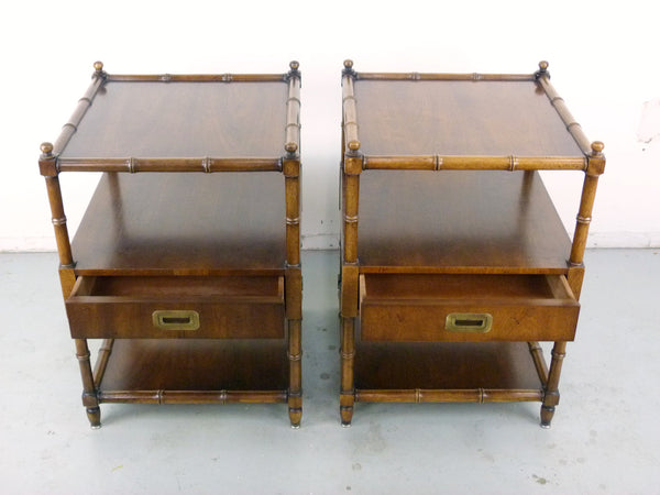 Vintage Henredon Faux-Bamboo Campaign Side Tables Img 3