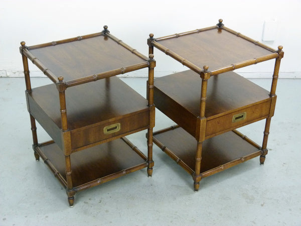 Vintage Henredon Faux-Bamboo Campaign Side Tables Img 4