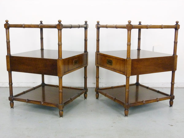 Vintage Henredon Faux-Bamboo Campaign Side Tables Img 5
