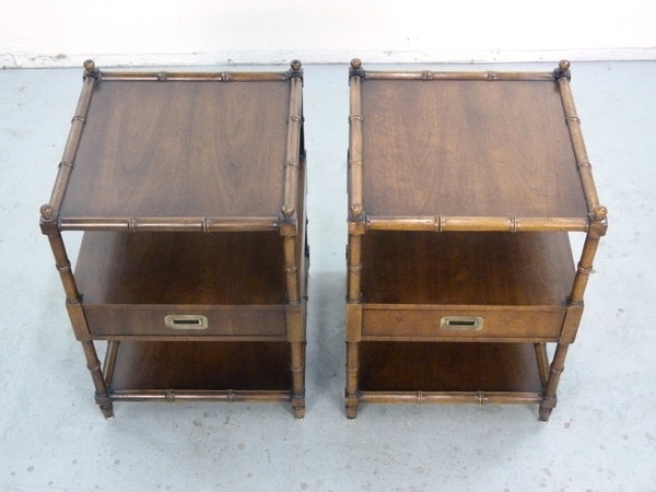 Vintage Henredon Faux-Bamboo Campaign Side Tables Img 7