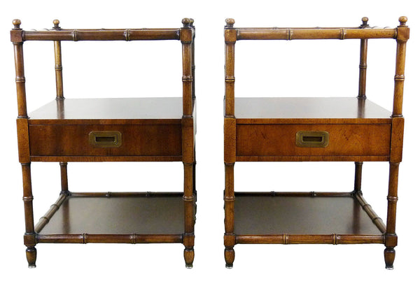 Vintage Henredon Faux-Bamboo Campaign Side Tables Img 0