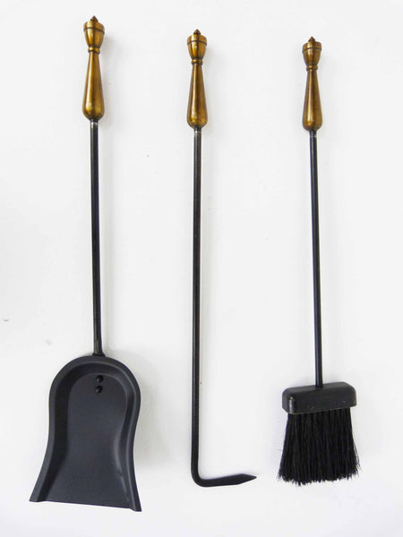 Hollywood Regency Brass Handle Fireplace Tools