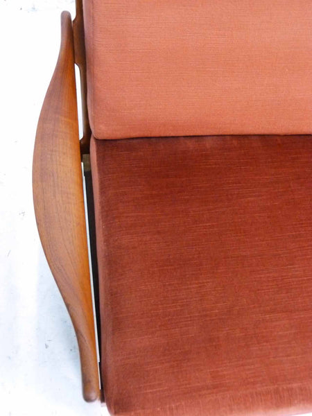 Illum Wikkelso 3-Seater Danish Modern Teak Sofa Overhead Right Arm