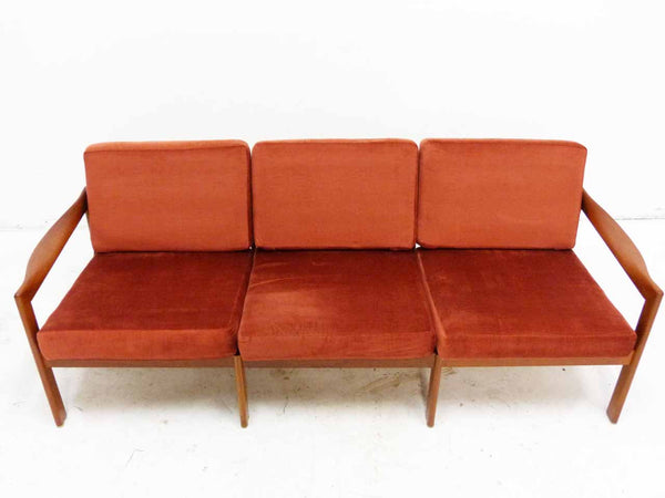 Illum Wikkelso 3-Seater Danish Modern Teak Sofa Front Top