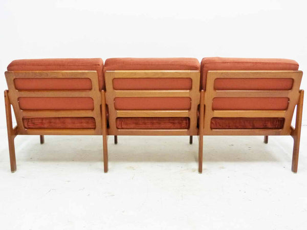 Illum Wikkelso 3-Seater Danish Modern Teak Sofa Back Ladderback