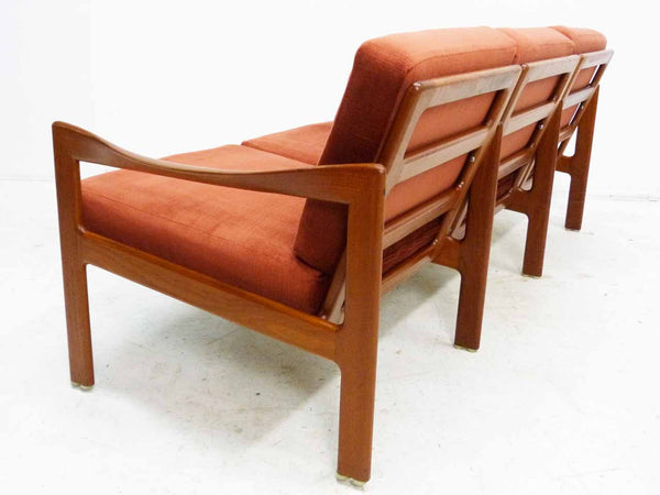 Illum Wikkelso 3-Seater Danish Modern Teak Sofa Back Angle