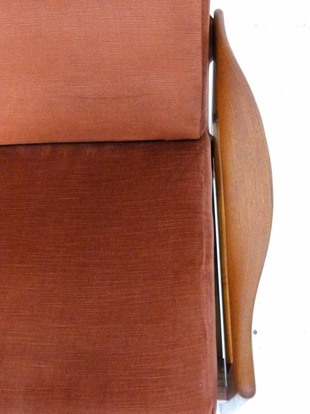 Illum Wikkelso 3-Seater Danish Modern Teak Sofa Overhead left arm