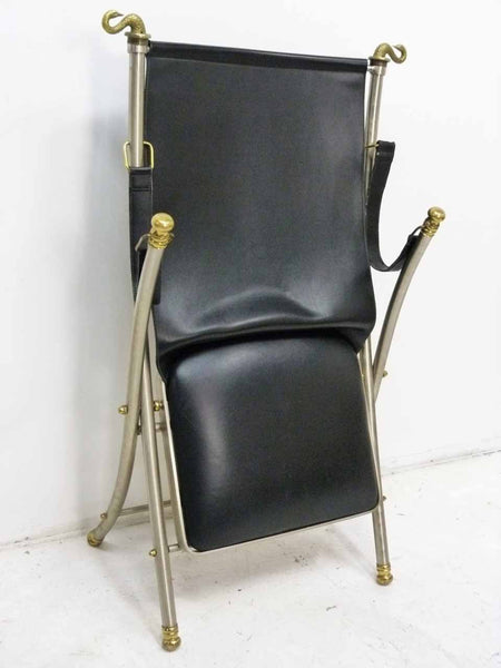 Italian Maison Jansen folding leather campaign chair 12