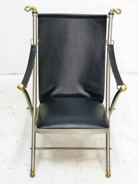 Italian Maison Jansen folding leather campaign chair 2