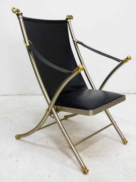 Italian Maison Jansen folding leather campaign chair 4