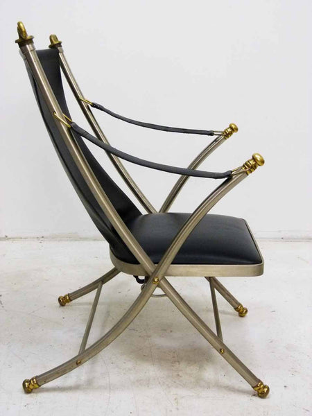 Italian Maison Jansen folding leather campaign chair 5