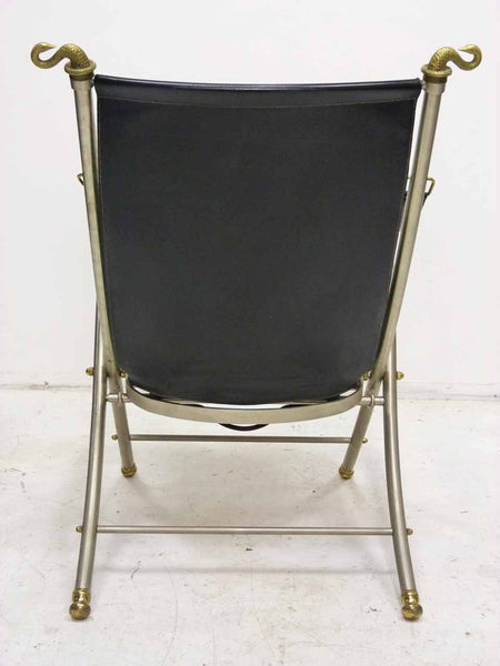Italian Maison Jansen folding leather campaign chair 6