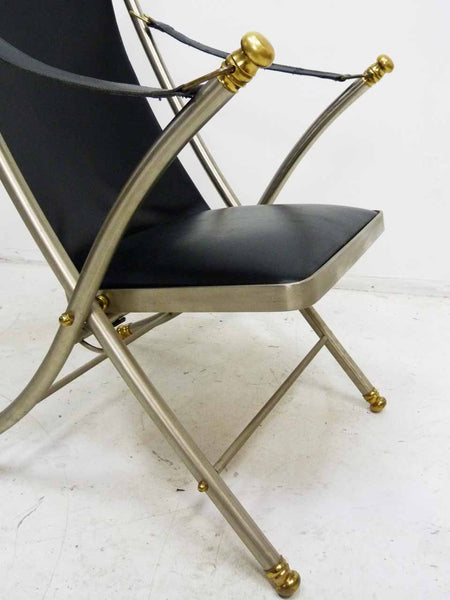 Italian Maison Jansen folding leather campaign chair 8