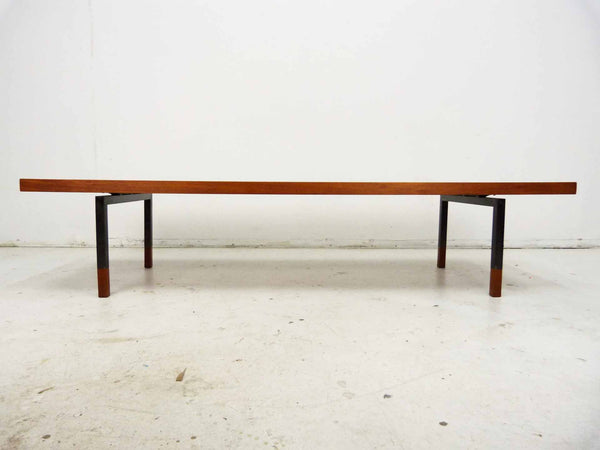 Johannes Aasbjerg Illums Bolighus Danish Modern Teak Sabots Steel Coffee Table 4