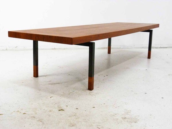 Johannes Aasbjerg Illums Bolighus Danish Modern Teak Sabots Steel Coffee Table 5