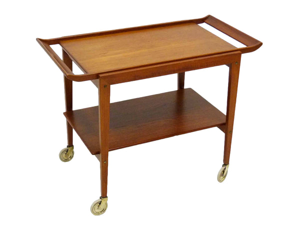 Tove Edvard Kindt-Larsen Danish Teak Serving Bar Cart Front Angle