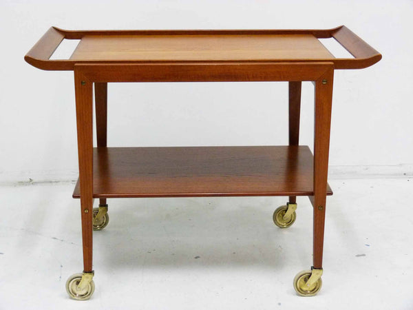 Tove Edvard Kindt-Larsen Danish Teak Serving Bar Cart Front