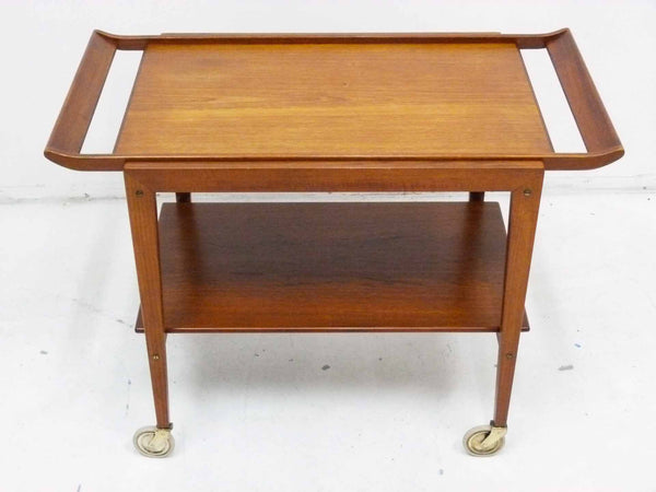 Tove Edvard Kindt-Larsen Danish Teak Serving Bar Cart Angle Top