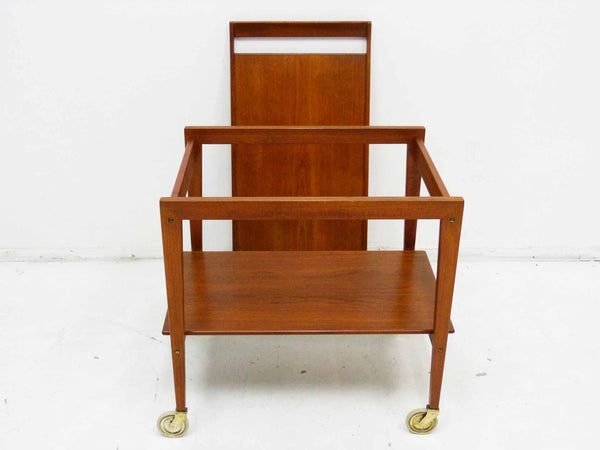 Tove Edvard Kindt-Larsen Danish Teak Serving Bar Cart Removable Tray