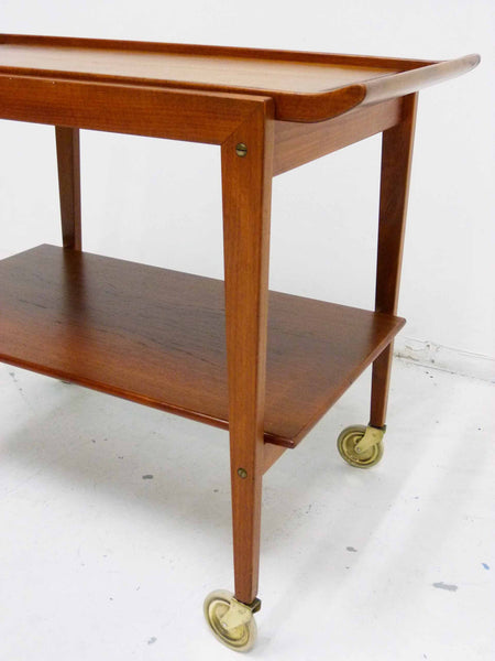 Tove Edvard Kindt-Larsen Danish Teak Serving Bar Cart Brass Casters