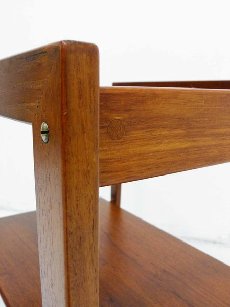 Tove Edvard Kindt-Larsen Danish Teak Serving Bar Cart Detail
