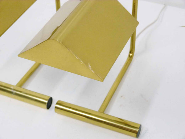 Cantilevered Brass Desk Lamps by Koch & Lowy , Pair