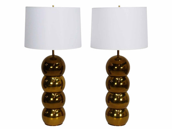 Brass Stacked Ball Table Lamps George Kovacs 1