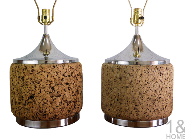 pair of Mid-Century chrome and cork table lamps by Laurel