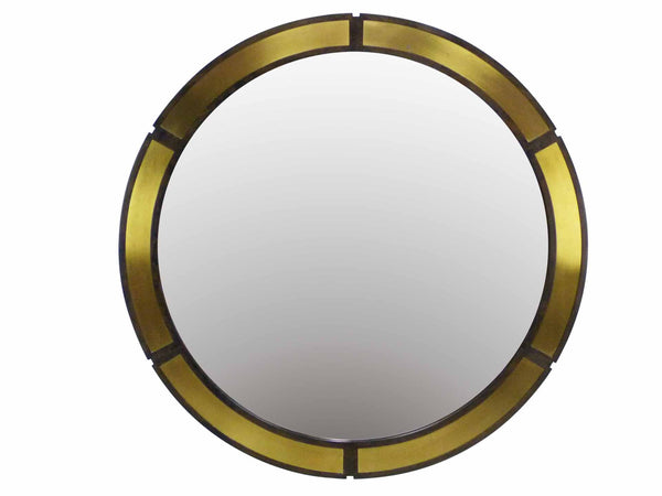 Vintage Round Wood Wall Mirror Brass Insets Front
