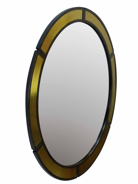 Vintage Round Wood Wall Mirror Brass Insets Side