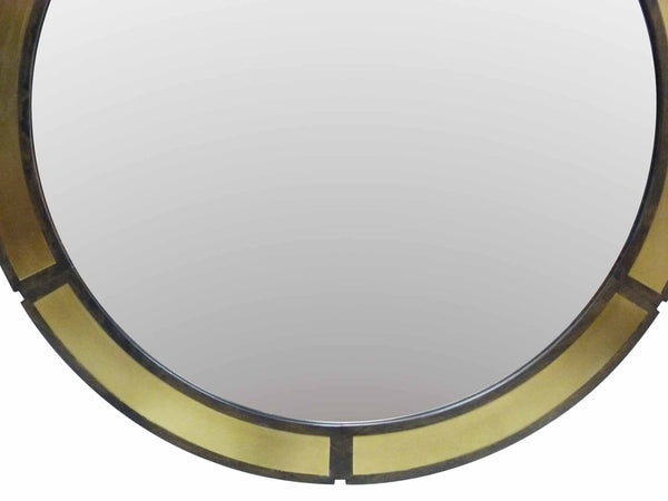 Vintage Round Wood Wall Mirror Brass Insets Bottom