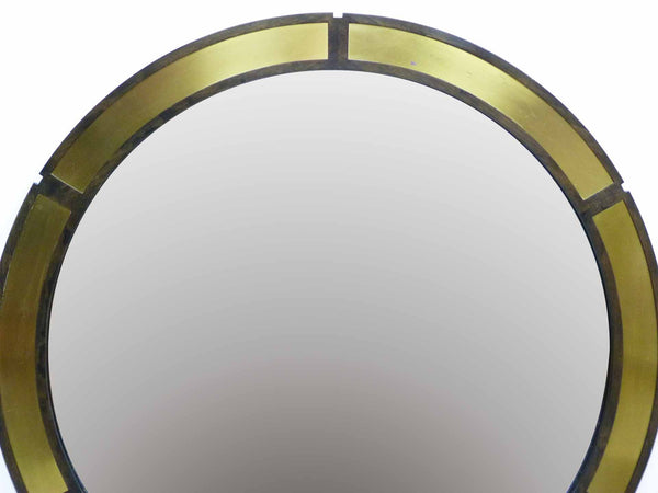 Vintage Round Wood Wall Mirror Brass Insets Top
