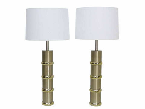 Laurel Brushed Aluminum Brass Segmented 1970s Cylander Table Lamps Pair 1