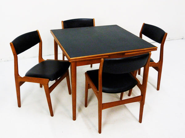 Danish Modern black leather top teak dining game table 11