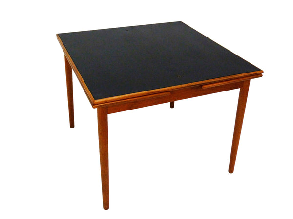 Danish Modern black leather top teak dining game table 1