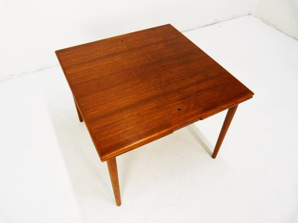 Danish Modern black leather top teak dining game table 2