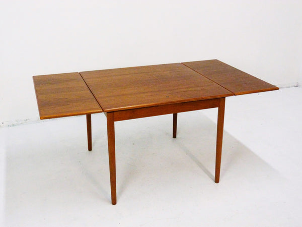 Danish Modern black leather top teak dining game table 3