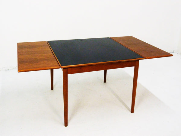 Danish Modern black leather top teak dining game table 4