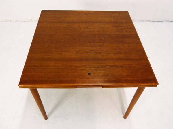 Danish Modern black leather top teak dining game table 5