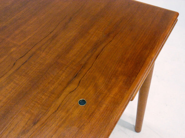 Danish Modern black leather top teak dining game table 6