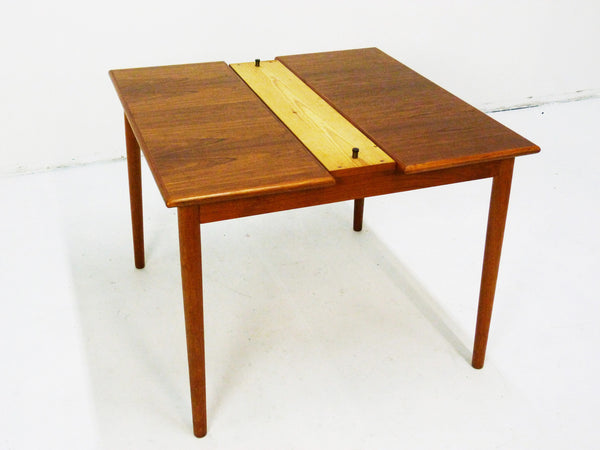 Danish Modern black leather top teak dining game table 7