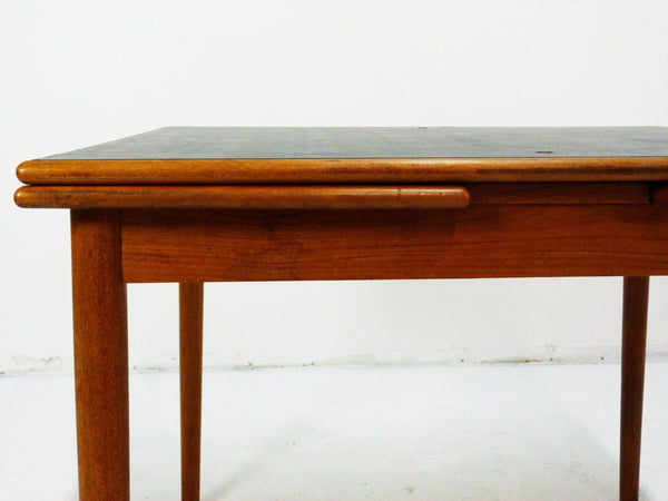 Danish Modern black leather top teak dining game table 8