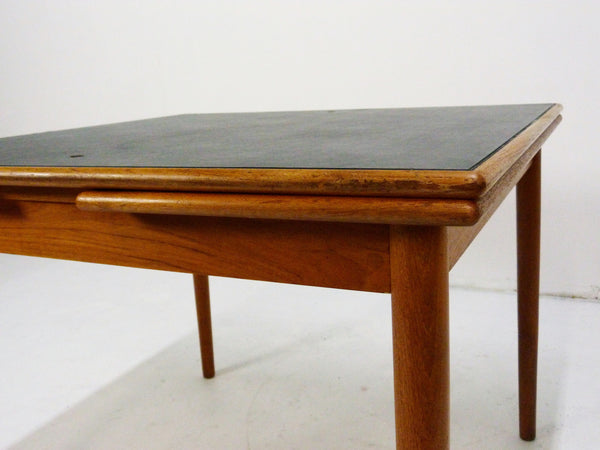 Danish Modern black leather top teak dining game table 9