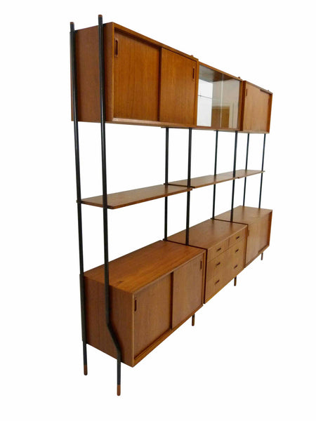 Lyby Danish Modern Teak Wall Unit Bookshelf Room Divider 2
