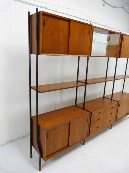 Lyby Danish Modern Teak Wall Unit Bookshelf Room Divider 4