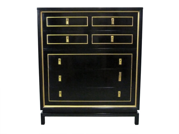 Black Lacquered Gold High-Boy Dresser American Martinsville Mid-Century 1