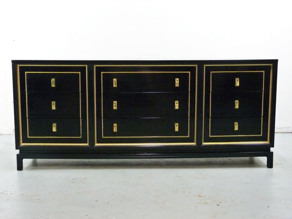 Black Lacquered Gilt Dresser American of Martinsville Mid-Cneutyr Img 14