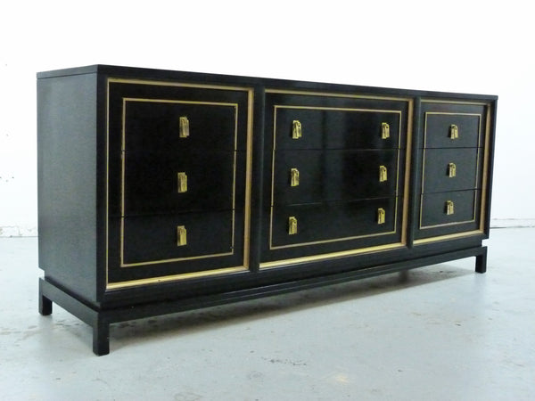 Black Lacquered Gilt Dresser American of Martinsville Mid-Cneutyr Img 2